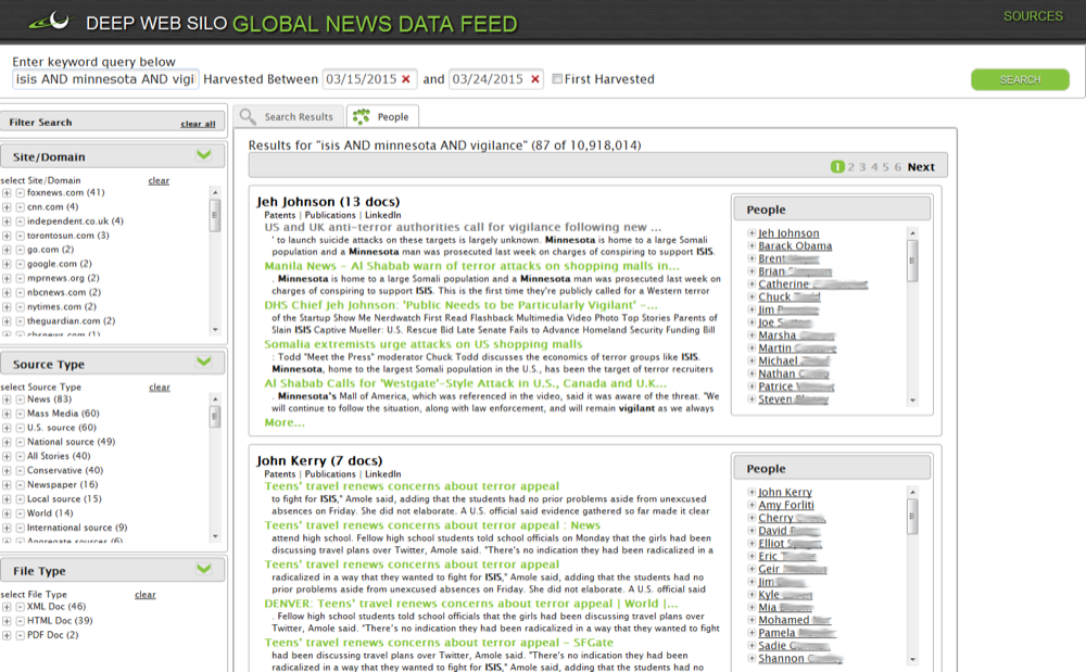 Global News data feed (people view)